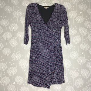 41Hawthorn Dress Large Blue Pink Printed Faux Wrap